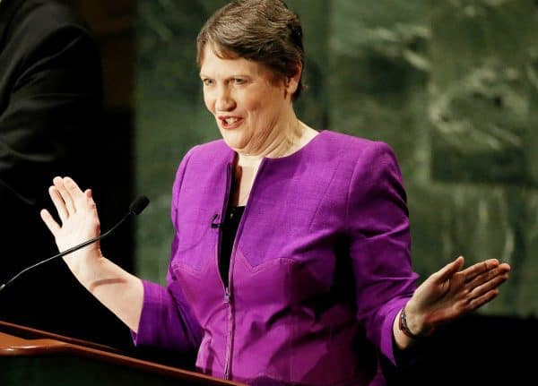 Former New Zealand Prime Minister Helen Clark speaks during a debate in the United Nations General Assembly between candidates vying to be the next U.N. Secretary General at U.N. headquarters in Manhattan, New York, U.S., July 12, 2016. REUTERS/Mike Segar - RTSHN6R