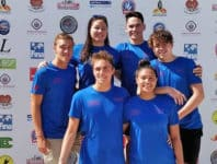 Team Samoa i PNG – Vernon Wetzell, Jelani Freesir-Wetzell, Brandon Schuster, Sitivi Sooa'emalelagi, Lushavel Strickland, Thomas Morriss - Photo: Samoa Swimming