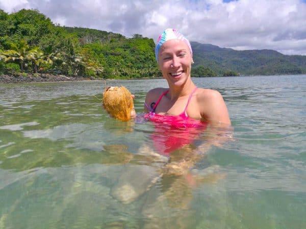 Jess Evans i le faaiuga o le tuuga 15km i Saoluafata - Photo: Samoa Events / ScottieTPhoto
