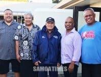 Sui ta'ita'ifono o le Mangere-Bridge Local Board, Walter Togiamua ma le Board Member Tafafunai Tasi Lauese ma faatonu o le Walking Samoans